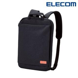 【ELECOM】帆布多功能薄型後背包OF03-黑(BM-OF03BK)