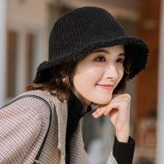 【Acorn 橡果】韓系純色保暖漁夫帽圓頂帽遮陽帽1712(黑色)