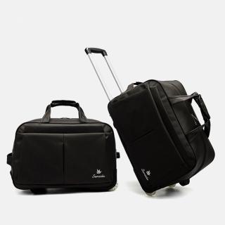 【悅生活】GoTrip微旅行--23吋經典細格登機拉桿收納購物車 黑色(拉桿包 拉桿袋 行李箱 購物車)