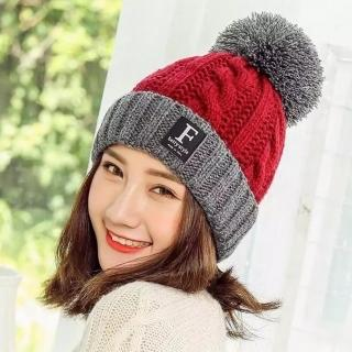 【Acorn 橡果】韓系撞色大毛球內絨加厚保暖毛帽1821(酒紅)
