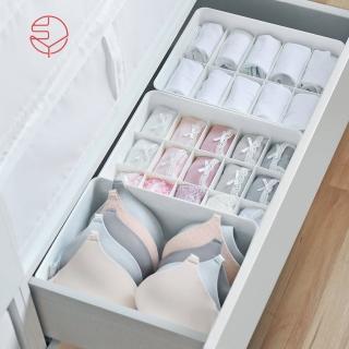 【日本霜山】多功能分隔內衣/內褲/襪子PP收納盒附蓋-3件套組(儲物 整理 塑膠 防塵 層疊 小物 抽屜)