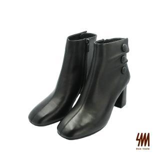 【SM】小編私心推薦-優雅柔軟舒適素面羊皮高跟中筒靴-黑色(兩色)