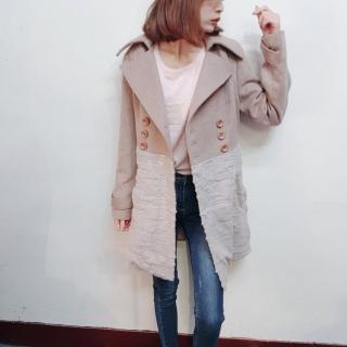 【BBHONEY】韓版專櫃質感亮片毛絨拼接混羊毛呢大衣西裝外套(網美熱搜款)