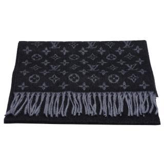 【Louis Vuitton 路易威登】M71607經典Monogram Gradien系列漸層Monogram織花圖案開士米混羊毛圍巾(黑X灰)