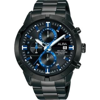 【ALBA】時尚廣告款三眼流行腕錶-藍44mm(AM3751X1)