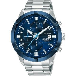 【ALBA】時尚廣告款三眼流行腕錶-藍銀44mm(AM3753X1)