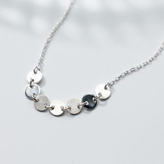 【Angel】純潔圓幣幾何圈圈S925銀典雅項鍊(白色)