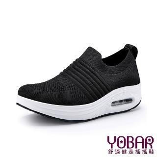 【YOBAR】個性立體飛織彈力舒適襪套輕量美腿搖搖鞋(黑)