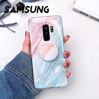 【韓式作風】SAMSUNG S10/S10E/NOTE9/NOTE8/S9/S8/S7系列 彩色大理石紋透明邊支架手機殼RCSAM118(五色)