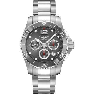 【LONGINES 浪琴】深海征服者浪鬼陶瓷計時潛水機械錶-灰/43mm(L38834766)
