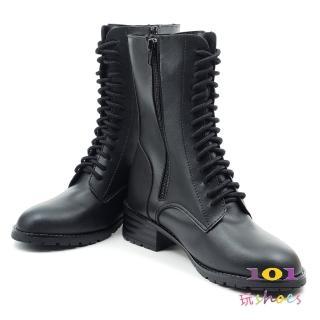 【101 玩Shoes】mit. 帥氣多孔帶綁帶粗跟中筒靴(黑色.36-40碼)