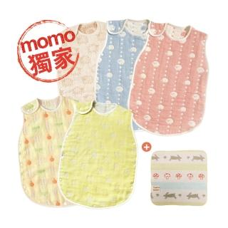 【Hoppetta】得獎六層紗嬰童0-3歲防踢被紗布巾體驗組-花色任選(momo獨家)