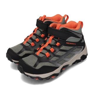 【MERRELL】戶外鞋 Moab FST Waterproof 女鞋 登山 越野 防水 中筒 耐磨 魔鬼氈 大童 綠黑(MK262575)