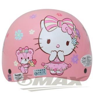 【HELLO KITTY】熊Kitty兒童機車安全帽-粉紅色(贈短鏡片-12H)