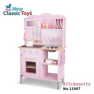 【New Classic Toys】聲光小主廚木製廚房玩具- 11067(櫻花粉-含配件12件)