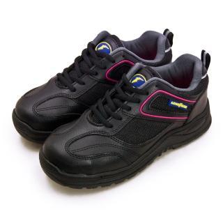 【GOODYEAR 固特異】女 透氣鋼頭防護認證安全工作鞋 QUEEN BEE蜂后系列(黑桃紅 92902)