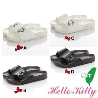 【HELLO KITTY】23-25cm童鞋 輕量減壓吸震室內外拖鞋(白&黑色)