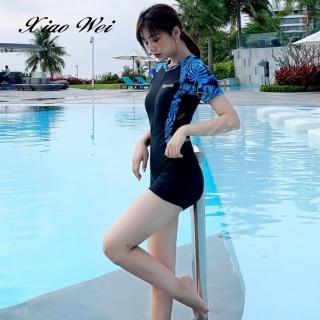 【小薇的店】時尚流行四角連身短袖泳裝(NO.191-80A41)