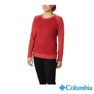【Columbia 哥倫比亞】女款-刷毛長袖上衣-紅色(UAK10820RD / 保暖.舒適.休閒)