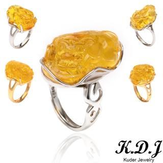 【K.D.J 圓融珠寶】天然琥珀招財貏貅戒指(活圍可調)