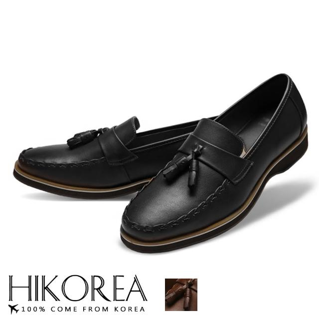 【HIKOREA】韓國空運/版型正常。男款簡約拼接皮革縫線一字帶流蘇裝飾休閒鞋(73-399共2色/現貨+預購)/