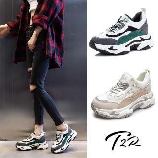 【T2R】正韓空運-增高鞋全真皮牛皮隱形內增高厚底老爹鞋-增高7公分-黑(5985-1930)
