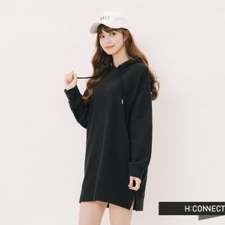 【H:CONNECT】韓國品牌 女裝 -休閒素面微長版帽T(黑色)