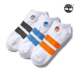 【Timberland】中性白色條紋三件組船型襪(A1EYR100)
