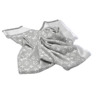 【Louis Vuitton 路易威登】M70804經典DENIM MONOGRAM花紋羊毛混絲披肩(珍珠灰)