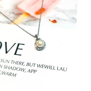 【DoriAN】手作純銀 貴氣高雅天然淡水珍珠頂級鋯石鑽925純銀項鍊(附精美包裝組合 純銀保證卡)