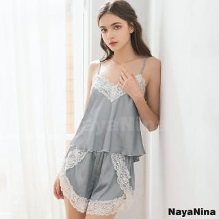 【NAYA NINA】灰白蕾絲拼接緞面細肩成套短褲裝睡衣(性感情趣/套裝/居家服)