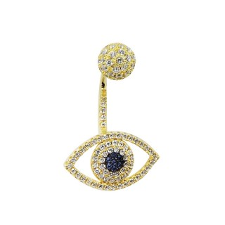 【apm MONACO】法國精品珠寶 璀璨之眼鍍K金鑲鋯單邊耳針式耳環(AE9007OXY-1)