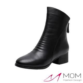 【MOM】全真皮頭層牛皮俐落剪裁尖頭粗跟短靴(黑)