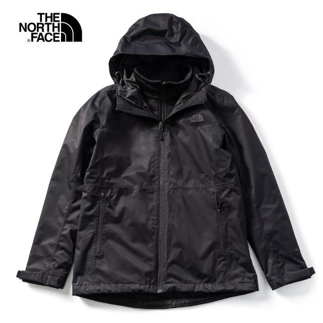 【The North Face】The North Face北面女款黑色防水透氣三合一外套|4NCZKX7