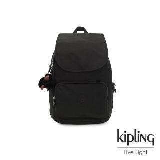 【KIPLING】質感黑掀蓋拉鍊後背包-CAYENNE/