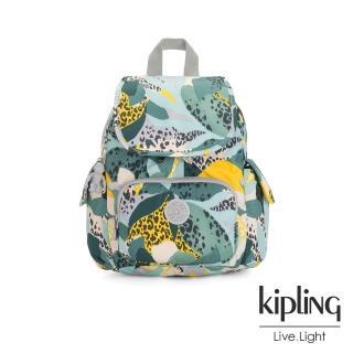【KIPLING】叢林展葉綠拉鍊掀蓋後背包-CITY PACK MINI