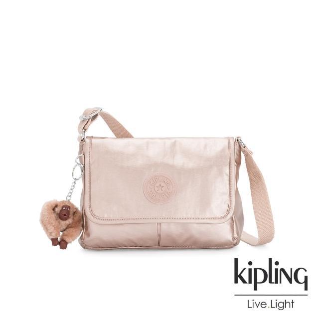 【KIPLING】玫瑰石英粉手提兩用斜背包-SUGAR