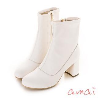【amai】巴黎小名媛皮革襪靴(杏)
