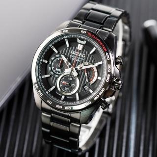【SEIKO 精工】世界第一日本精工 極致魅力三眼計時不鏽鋼腕錶/黑(SSB311P1_M)