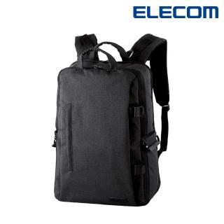 【ELECOM】帆布多功能大容量後背包II - L-黑(DGB-S037BK)