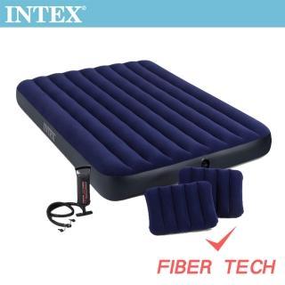 【INTEX】經典雙人加大fiber-tech充氣床墊-寬152cm-特惠組合(附手壓幫浦+枕頭*2_64765)