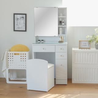 【完美主義】日系大鏡面多格收納化妝桌椅組/梳妝台(二色可選)