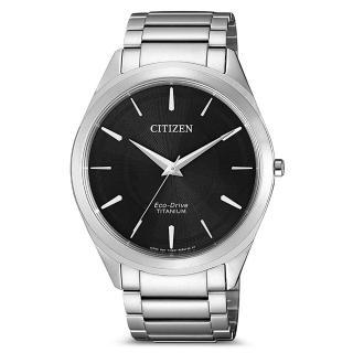 【CITIZEN 星辰】GENTS光動能鈦金屬腕錶-銀黑-39mm(BJ6520-82E)