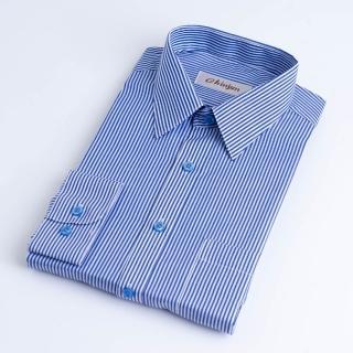 【CHINJUN】防皺襯衫長袖、藍白相間條紋、編號:K204(男性