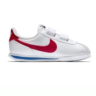 【NIKE 耐吉】休閒鞋 中童 童鞋 兒童 阿甘鞋 魔鬼氈 皮革 Cortez Basic SL PSV 白紅 904767-103
