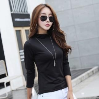 【89 zone】法式名媛修身顯瘦純色高領T恤(黑/白/灰/紅)
