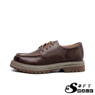 【SOFT WALK 舒步】全真皮頭層牛皮英倫風手工縫線經典防水台粗跟百搭牛津鞋(咖)