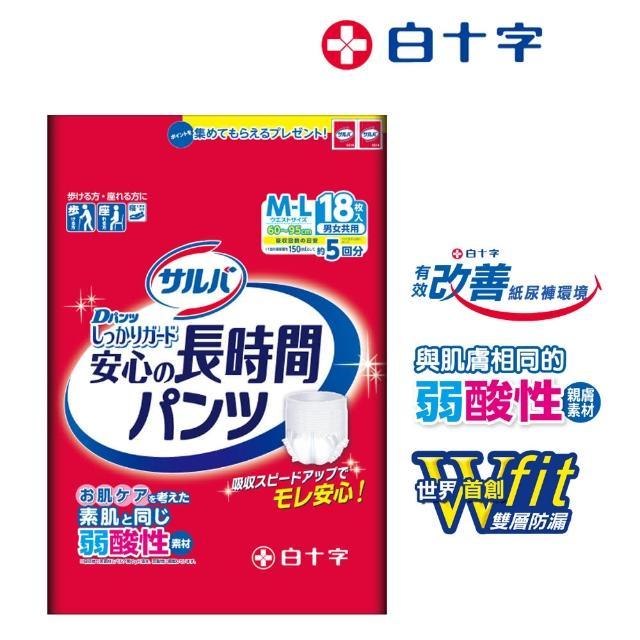 【白十字】雙層D超瞬吸防漏復健褲M-L(箱購54片/18片x3包-日本原裝進口)/