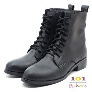 【101 玩Shoes】mit. 率性多孔帶綁帶低跟中筒靴(黑色.36-40碼)