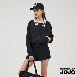 【NATURALLY JOJO】羅紋運動短版外套(黑)